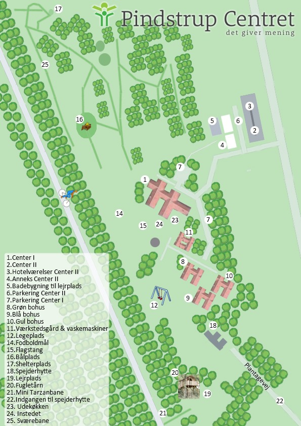 kort over Pindstrup Centret